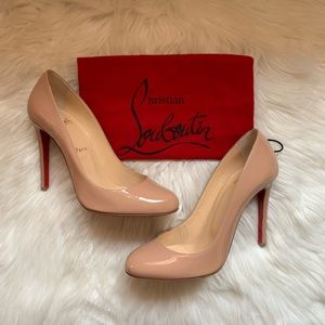 CHRISTIAN LOUBOUTIN Fifille 100 Nude Patent Pumps